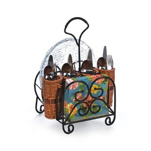 Outdoor Entertaining Willow Utensil Flatware and Dish Caddy Holder