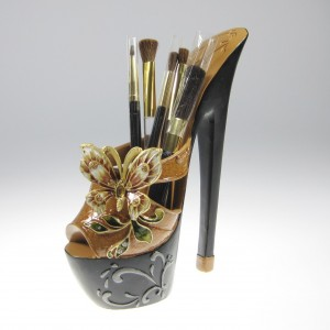 Brown Butterfly High Heel Platform for Makeup Brushes or Pen Holder