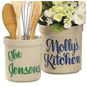 Personalized Kitchen Utensil Holder   Personalized Stoneware Crock