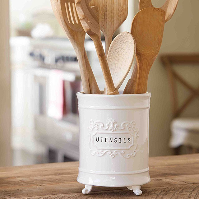 Mud Pie Circa White Utensil Holder